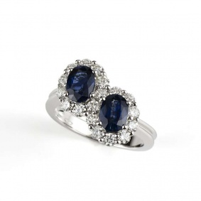 18k White Gold Double Sapphire and Diamond Cluster Ring 0.91ct Total